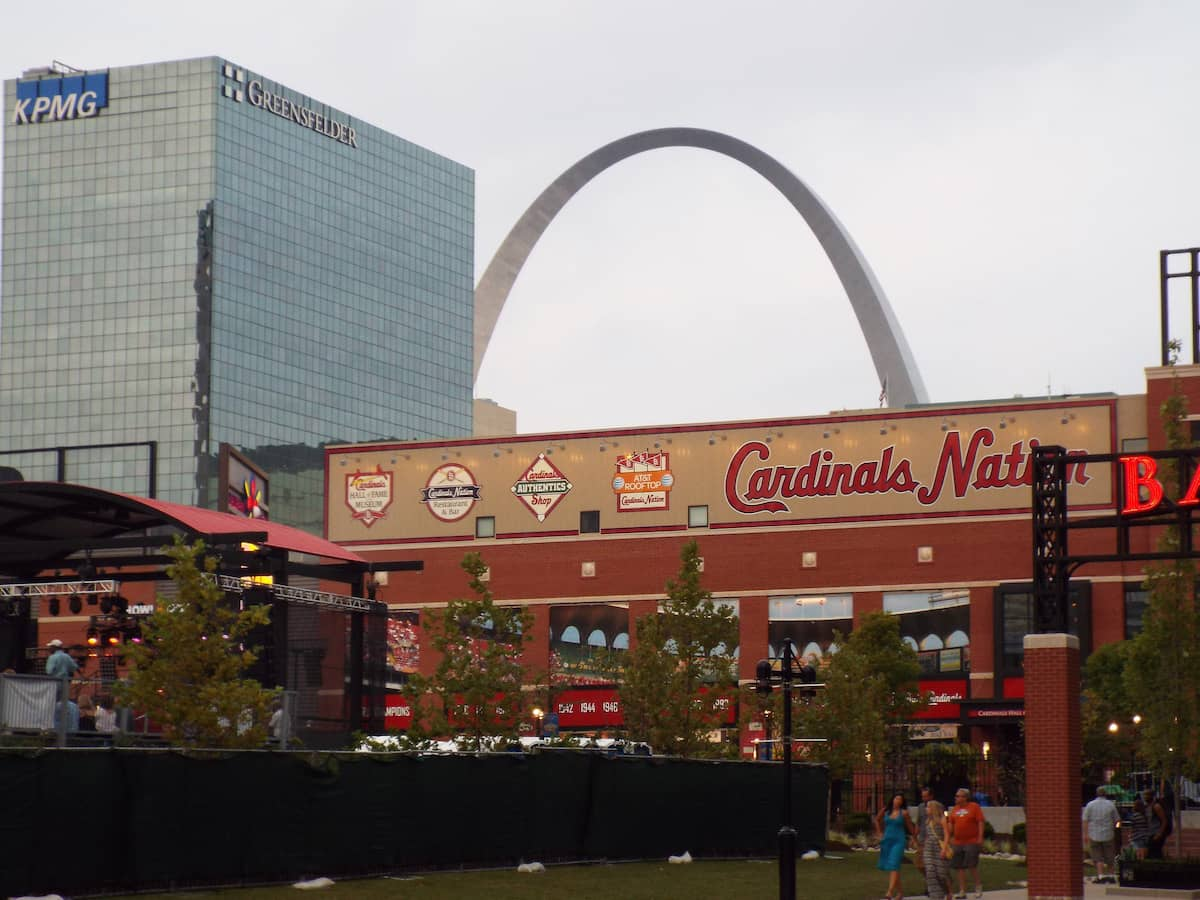 The Gateway Arch overlooking the St Louis Cardinals Busch stadium