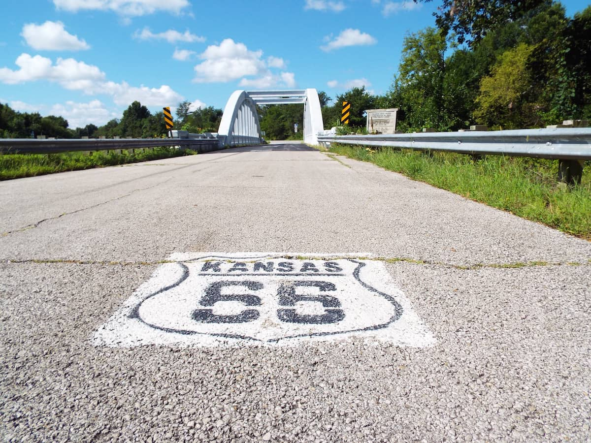 Route 66 Road sign in Kansas