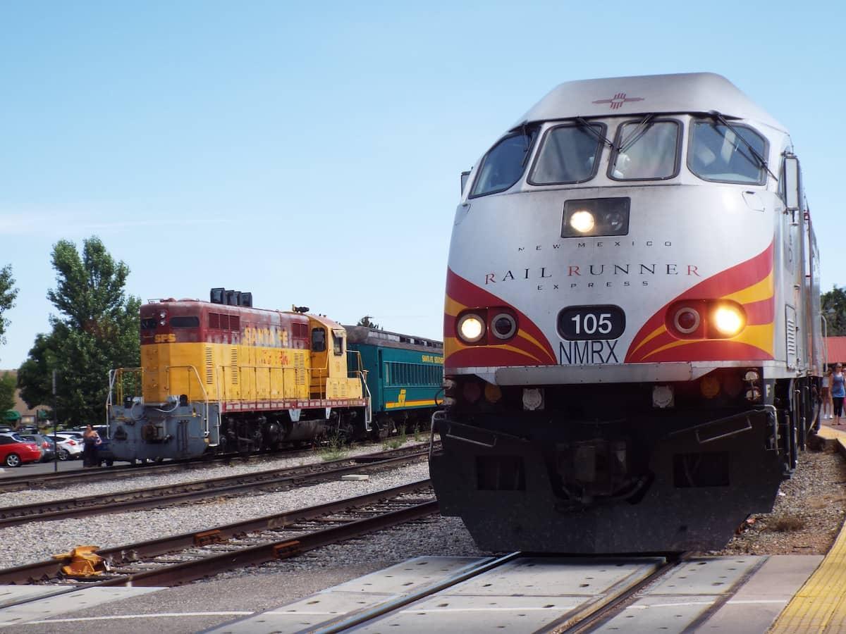 Trains in the Santa Fe railroad yard
