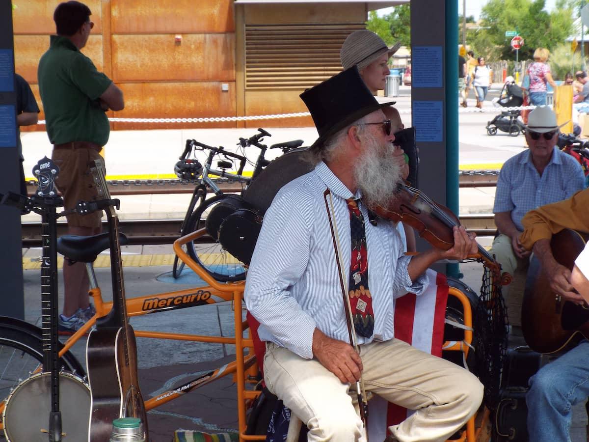 Live music at the Santa Fe Saturday Market in New Mexico