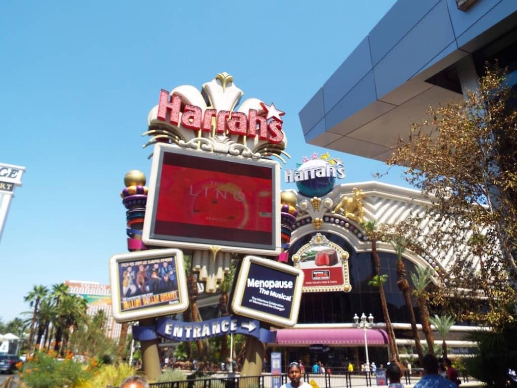 Harrahs signs on the Las Vegas strip