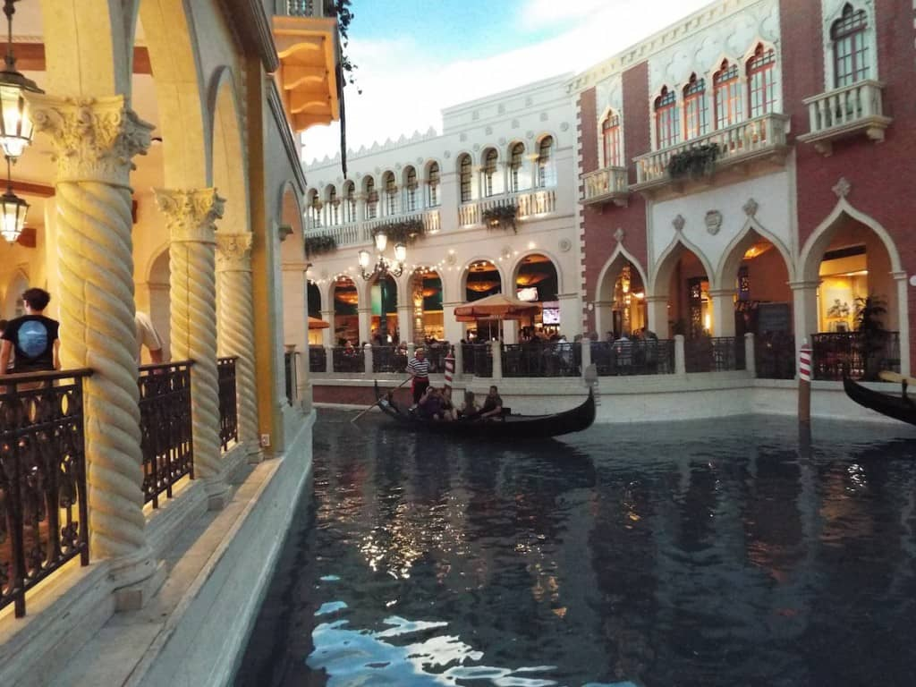 a gondola on the water ways of Venice themed hotel The Venetian in Las vegas